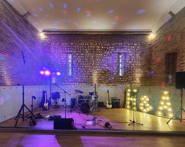 Stage setup at Kent wedding