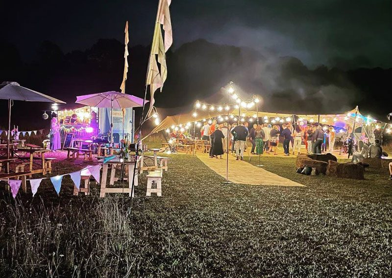 view of 50th birthday party in a festival style
